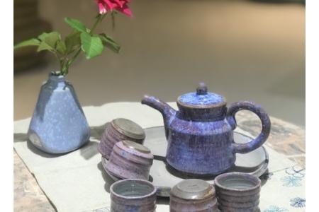 Bộ ấm trà men tím