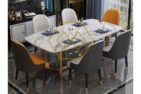 Bộ bàn ăn cao cấp mặt đá cẩm thạch BA006