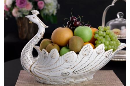 Tô trái cây Khổng Tước - Trang trí vàng