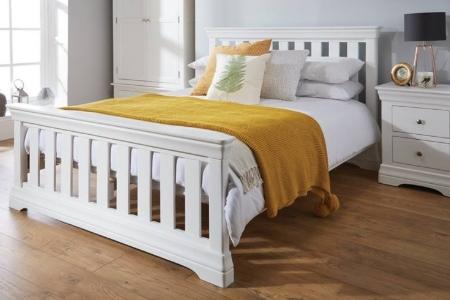 Giường ngủ gỗ sồi tự nhiên màu trắng mẫu mới 2019
