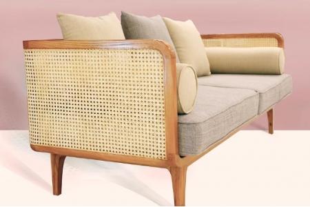 Sofa gỗ Sồi đan mây mắt cáo