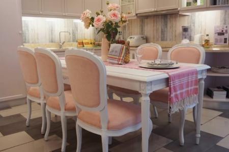 Bộ bàn ăn Victoria + 6 ghế vải hồng