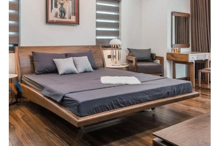 Giường gỗ óc chó chân sắt GN-22