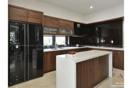 Tủ bếp gỗ óc chó cao cấp BEP-11