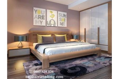 Giường gỗ tự nhiên chân vuông GN-13