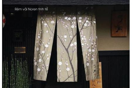 Rèm noren vẽ hoa anh đào Nhật Bản