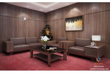 Mẫu sofa gỗ óc chó chữ L SF-01