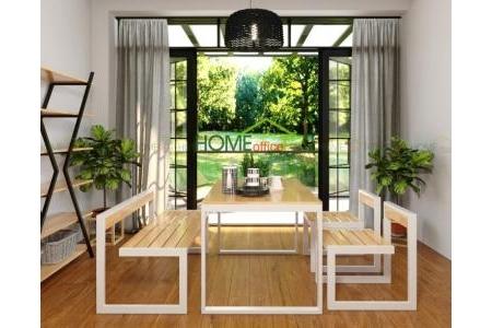 Combo bộ bàn ghế ăn cơm SAHO khung sắt màu trắng - CBPA002