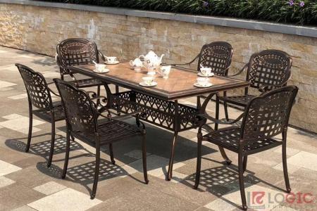 Bộ bàn ghế hợp kim nhôm đúc mặt đá BND-MD170x98D