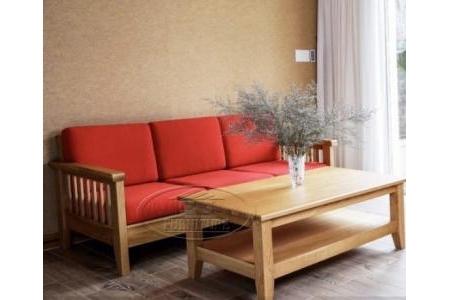 Bộ sofa 2 món gỗ sồi Mỹ OHIO Dài 2m