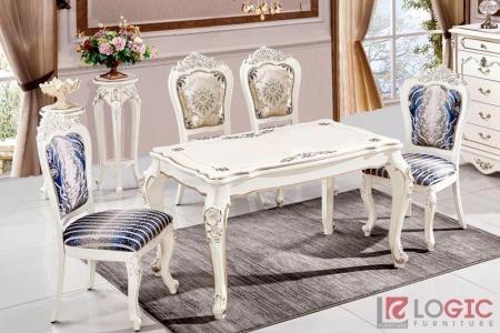 Bàn ghế ăn cao cấp tân cổ điển màu trắng BAG-01