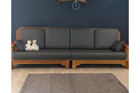 Sofa 4 chỗ Pleasance – Da siêu sợi (grey đậm) -Y10