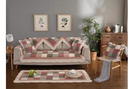 Thảm sofa Ô vuông hồng xanh
