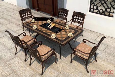 Bộ bàn ghế nhôm đúc mặt đá cao cấp tích hợp bếp nướng BND-MD188x98D02