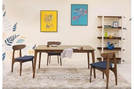 Bộ bàn ăn gỗ 4 ghế Gina