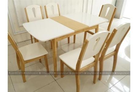 Bộ bàn ăn thông minh mặt kính LVH-A331 + 6 ghế